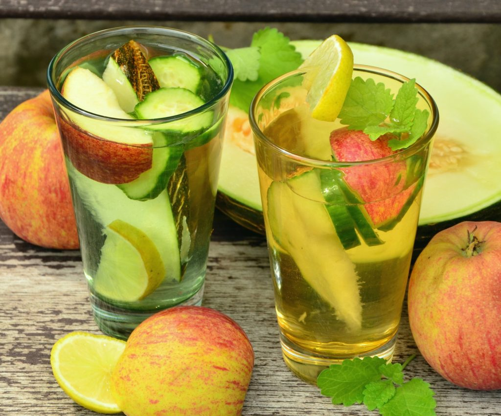 detox drink: water with fresh fruit and vegies added