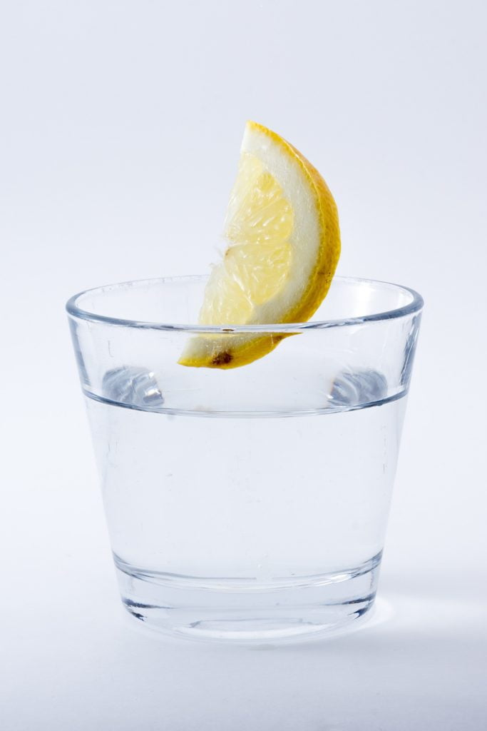 water glass with lemon slice