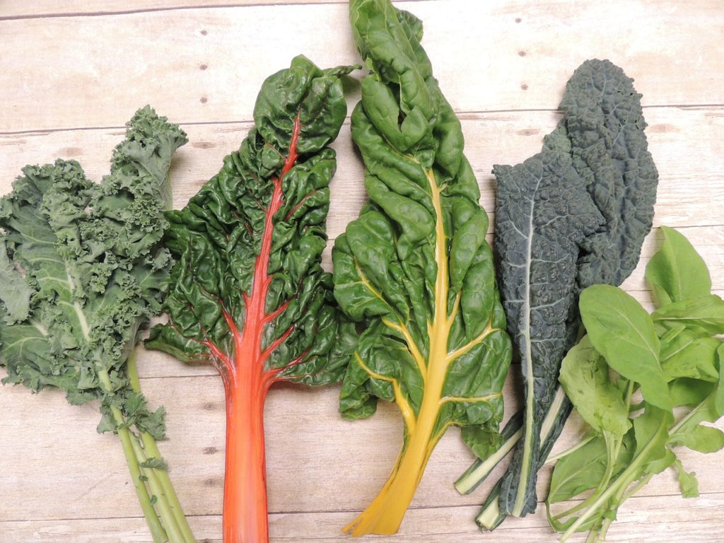 leafy green vegetables: kale, Swiss chard, arugula