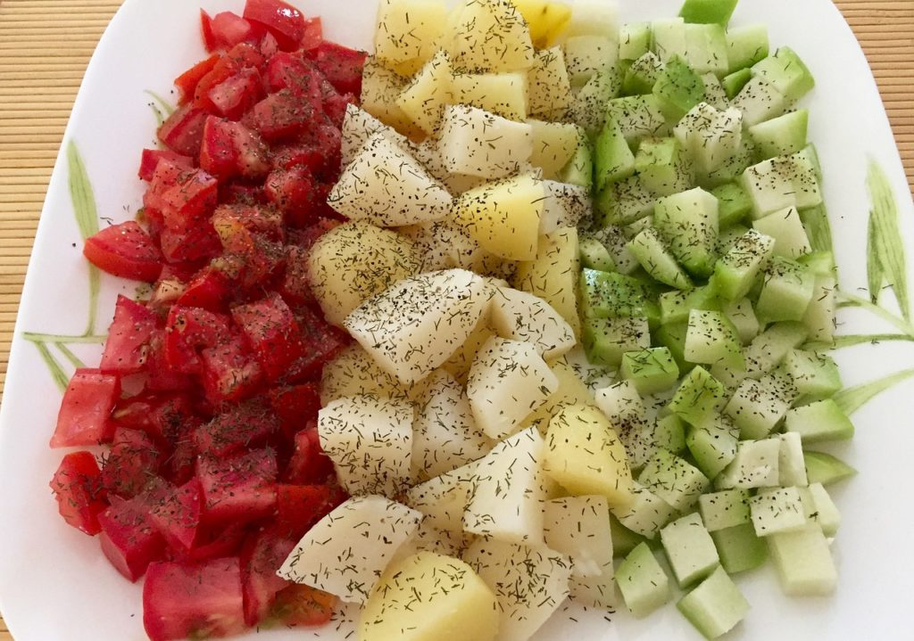 tomatoes potatoes chayote - healthy simple summer meal ideas